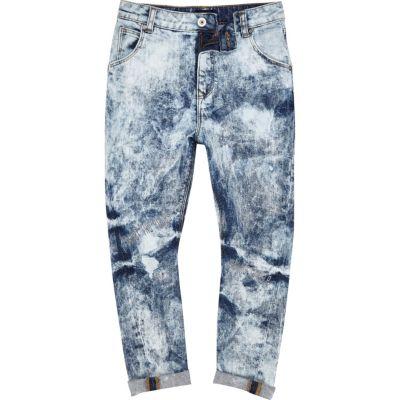 Lichtblauwe extreem gebleekte ruimvallende jeans voor jongens