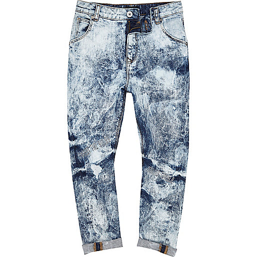 Boys light blue extreme bleach slouch jeans