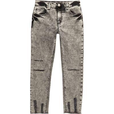 Sid Zwarte acid wash skinny jeans voor jongens