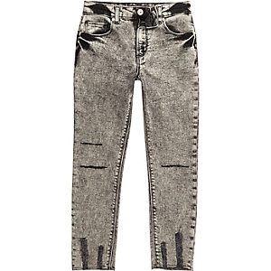 Boys black acid wash Sid skinny jeans