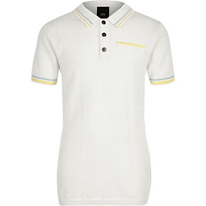Boys white tipped smart polo shirt
