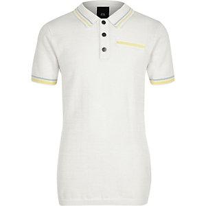 Polo habillé blanc à liserés pour garçon