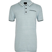 Boys blue tipped smart polo shirt