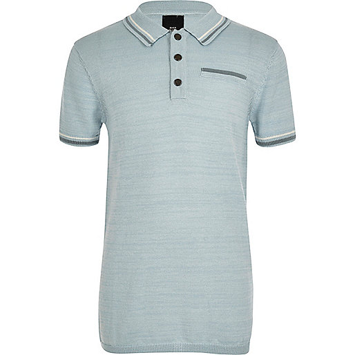 Boys blue tipped smart polo shirt