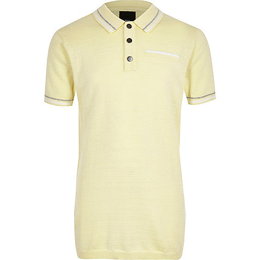 Boys yellow tipped smart polo shirt