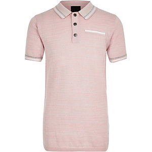 Boys pink tipped smart polo shirt