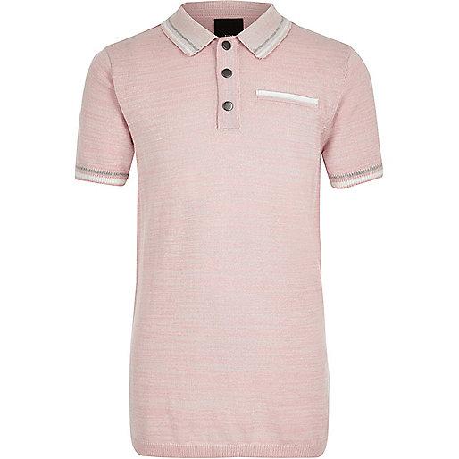 Boys pink tipped smart polo shirt