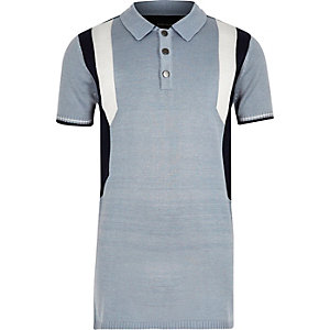 Boys blue colour block polo shirt