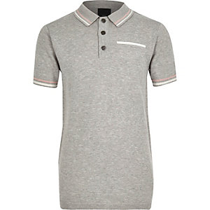 Boys grey tipped smart polo shirt