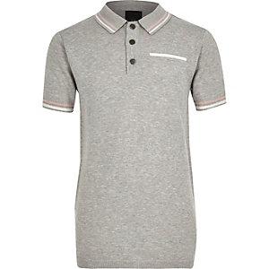 Boys grey tipped smart polo shirt
