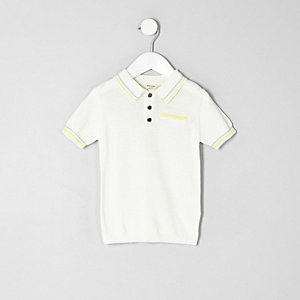 Mini boys white tipped smart polo shirt