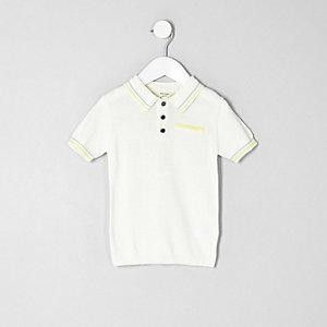 Polo habillé blanc à liserés pour mini garçon