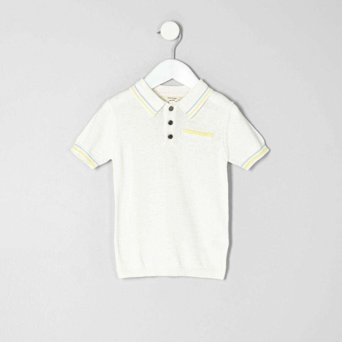 Mini boys white tipped smart polo shirt