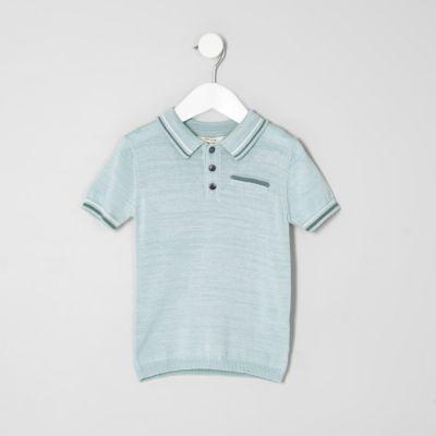 Mini Lichtblauw net poloshirt met streepje voor jongens