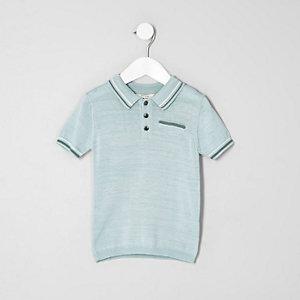 Mini - Lichtblauw net poloshirt met streepje voor jongens