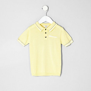 Polo habillé jaune à liserés pour mini garçon