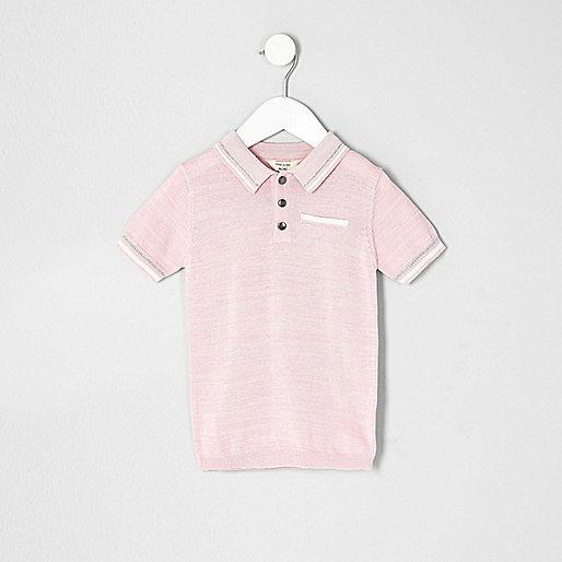 Mini boys pink tipped smart polo shirt