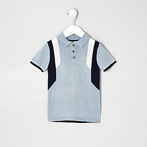 Mini boys blue color block polo shirt