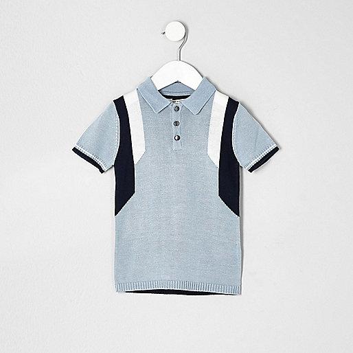 Mini boys blue color block polo shirt