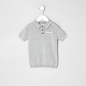 Mini boys grey tipped smart polo shirt