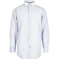 Boys blue smart contrast collar shirt