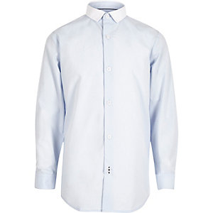 Boys blue smart contrast collar shirt