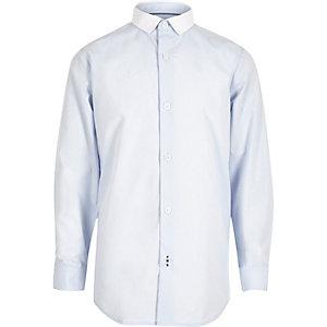 Blauw net overhemd met contrasterende kraag voor jongens