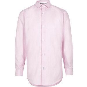 Roze net overhemd met strepenprint voor jongens