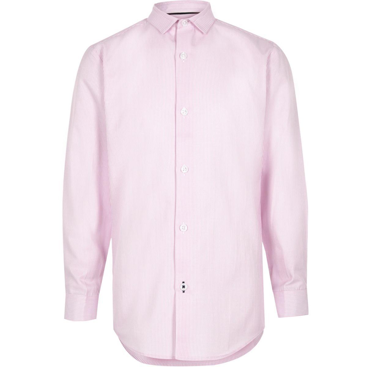 Boys pink stripe print smart shirt