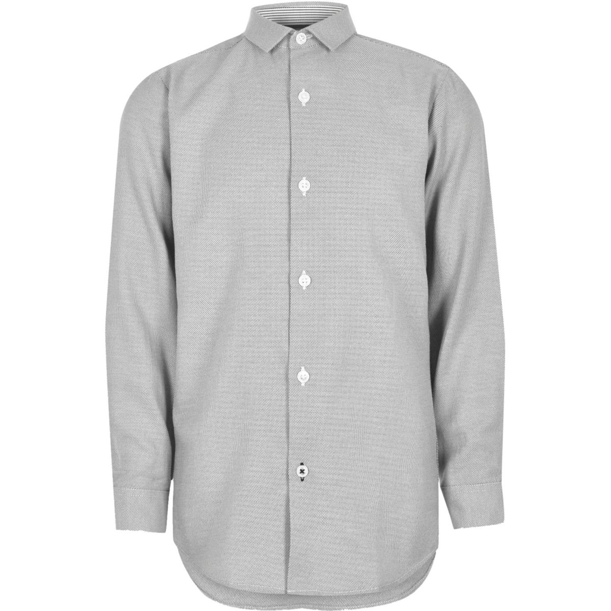 Boys grey textured smart shirt