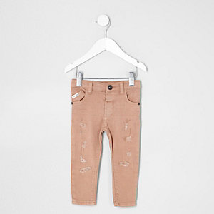 Mini boys pink Sid ripped skinny jeans