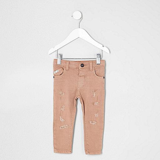 Mini boys pink Sid ripped skinny jeans