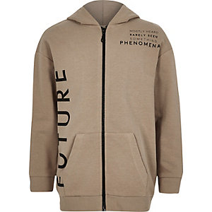 Boys stone 'future' zip front hoodie