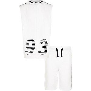 Ensemble avec sweat à capuche sans manches imprimé 93 blanc pour garçon