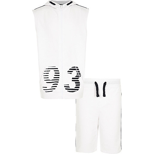 Boys white '93' print sleeveless hoodie set
