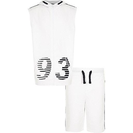 Boys white '93' print sleeveless hoodie set