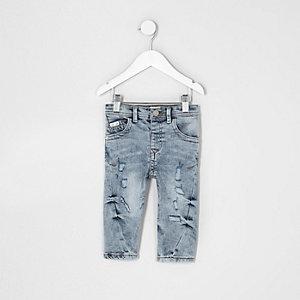 Chester - Mini - Blauwe gescheurde smaltoelopende jeans voor jongens