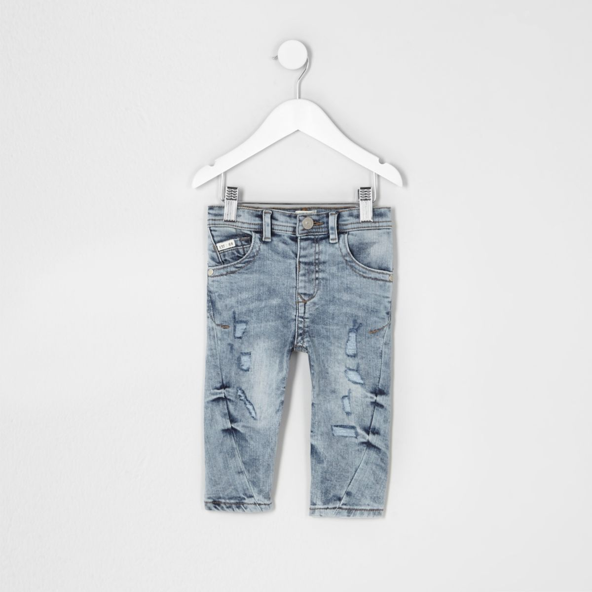 Mini boys blue Chester ripped tapered jeans