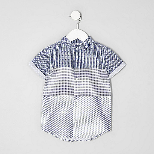 Mini boys geo print panel short sleeve shirt