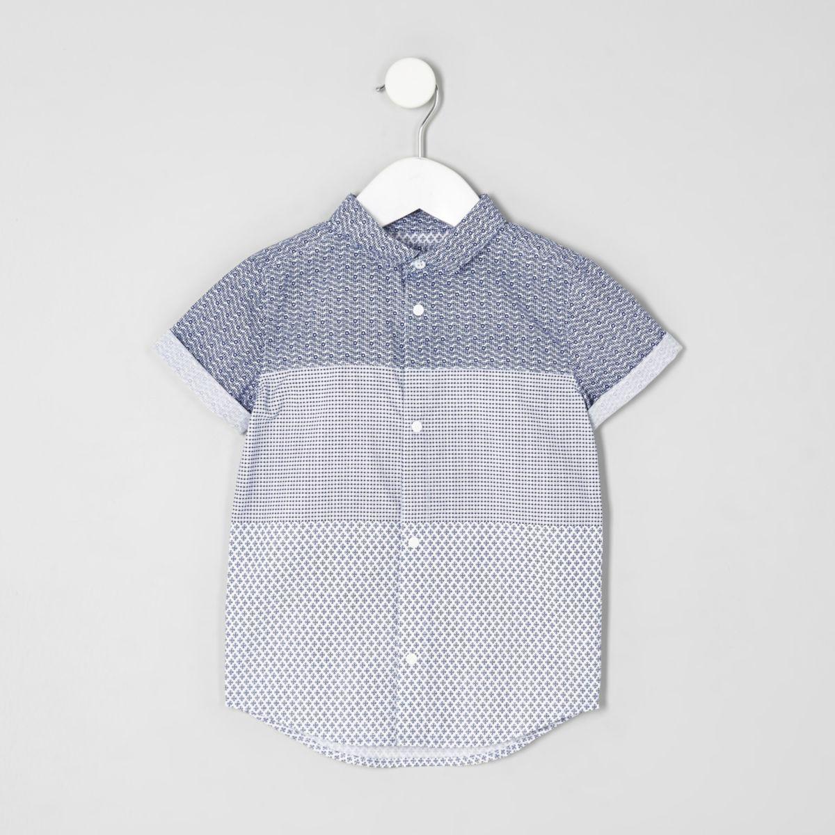 Mini boys geo print panel short sleeve shirt
