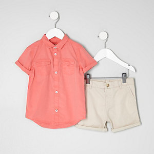 Mini boys pink shirt and chino shorts outfit