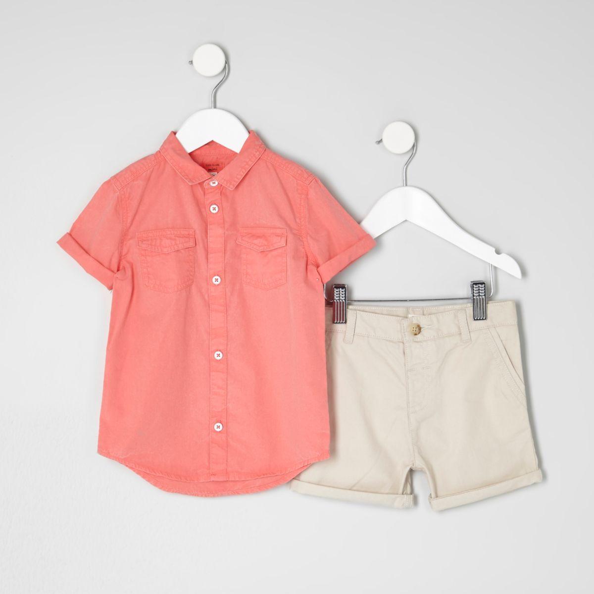 Mini boys pink shirt and chino shorts outfit