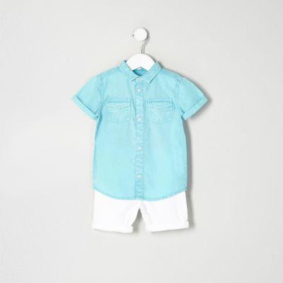Mini Outfit met blauw overhemd en denim short voor jongens