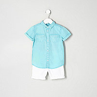 Mini boys blue shirt and denim shorts outfit