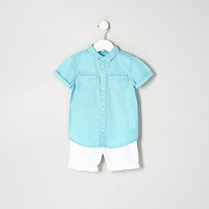 Mini boys blue shirt and denim shorts outfit