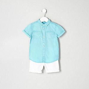 Ensemble short en jean et chemise bleue mini garçon