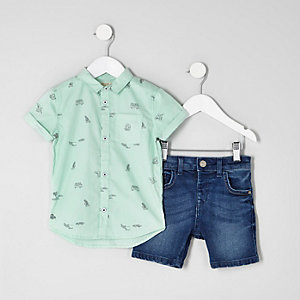 Mini boys green print shirt outfit