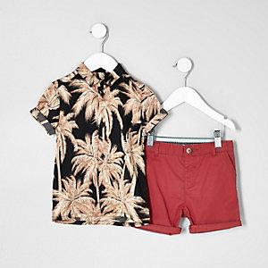 Mini - Outfit met Hawaiiaans overhemd met chinoshort voor jongens