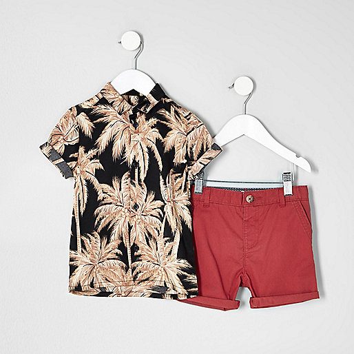 Mini boys Hawaiian shirt chino shorts outfit
