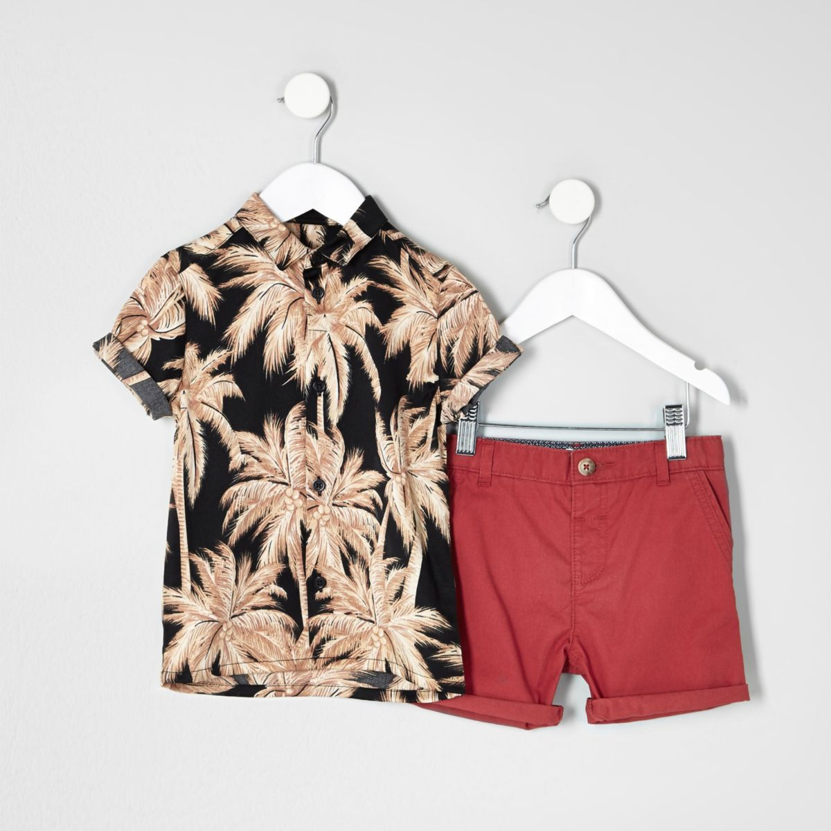 Mini boys Hawaiian shirt chino shorts outfit